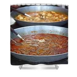 Spicy Duck Blood Soup Shower Curtain by Yali Shi