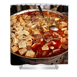 Shower Curtain featuring the photograph Spicy Tofu Dish With Duck Blood Cakes by Yali Shi