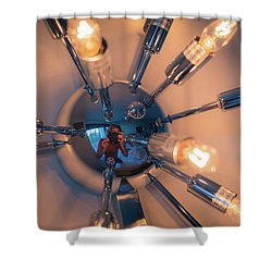 Shower Curtain featuring the photograph Spider Light Reflected Portrait by T Brian Jones