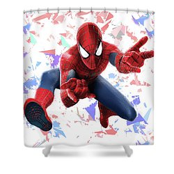 Shower Curtain featuring the mixed media Spider Man Splash Super Hero Series by Movie Poster Prints