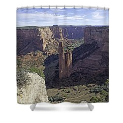 Shower Curtain featuring the photograph Spider Rock by Anne Rodkin