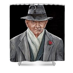 Spiffy Old Man Shower Curtain by Judy Kirouac