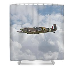 Shower Curtain featuring the digital art   Spifire - Us Eagle Squadron by Pat Speirs