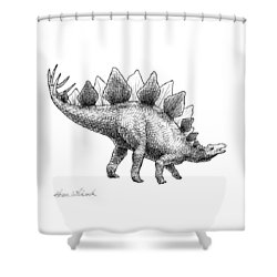 Spike The Stegosaurus - Black And White Dinosaur Drawing Shower Curtain