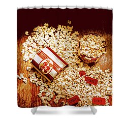 Shower Curtain featuring the photograph Spilt Tubs Of Popcorn And Movie Tickets by Jorgo Photography - Wall Art Gallery