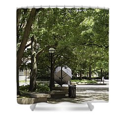 Spinning Cube On Campus Shower Curtain by Phil Perkins