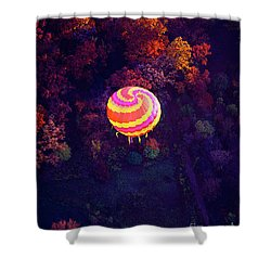 Spiral Colored Hot Air Balloon Over Fall Tree Tops Mchenry   Shower Curtain