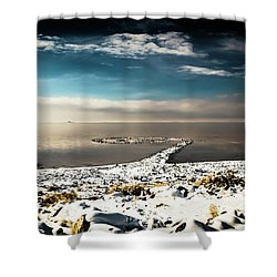 Shower Curtain featuring the photograph Spiral Jetty In Winter by Bryan Carter