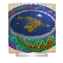 Spiral Of Souls Flat Earth Shower Curtain
