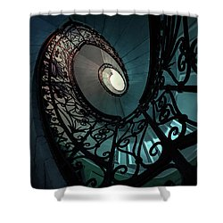 Shower Curtain featuring the photograph Spiral Ornamented Staircase In Blue And Green Tones by Jaroslaw Blaminsky