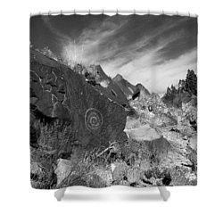 Spiral Petroglyph Shower Curtain