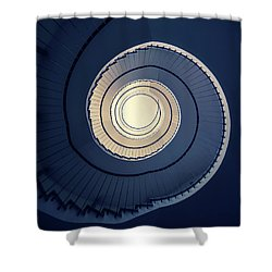 Spiral Staircase In Blue And Cream Tones Shower Curtain by Jaroslaw Blaminsky