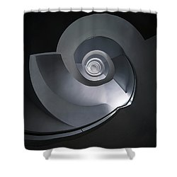 Spiral Staircase In Grey And Blue Tones Shower Curtain by Jaroslaw Blaminsky