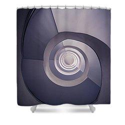 Spiral Staircase In Plum Tones Shower Curtain by Jaroslaw Blaminsky