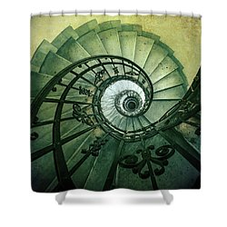 Shower Curtain featuring the photograph Spiral Stairs In Green Tones by Jaroslaw Blaminsky