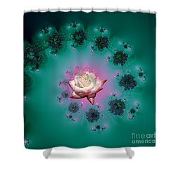 Spiral To A Rose Fractal 140 Shower Curtain by Rose Santuci-Sofranko