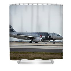 Shower Curtain featuring the photograph Spirit Airlines A319 Airbus N523nk Airplane Art by Reid Callaway