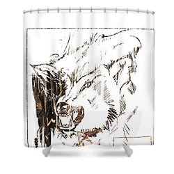 Spirit Animal . Wolf Shower Curtain by John Jr Gholson