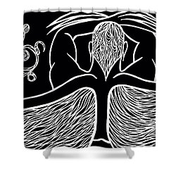Shower Curtain featuring the drawing Spirit II by Jamie Lynn