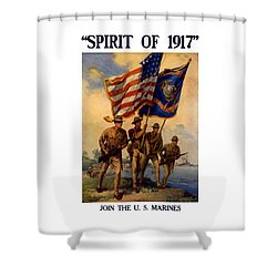 Spirit Of 1917 - Join The Us Marines  Shower Curtain by War Is Hell Store
