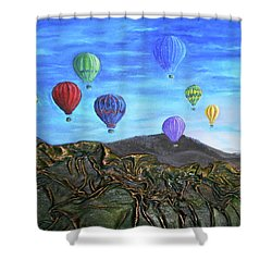 Shower Curtain featuring the mixed media Spirit Of Boise by Angela Stout