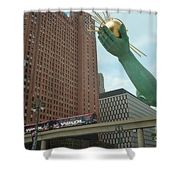 Spirit Of Detroit And People Mover Shower Curtain