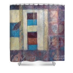 Shower Curtain featuring the painting Spirit Of Gold - States Of Being by Kerryn Madsen- Pietsch