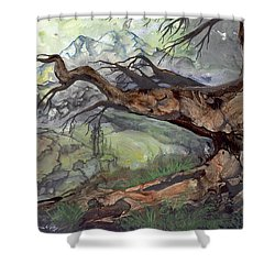 Shower Curtain featuring the painting Spirit Tree by Sherry Shipley