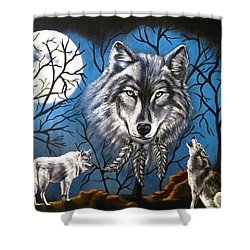 Spirit Wolf Shower Curtain by Teresa Wing