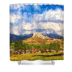 Castle Above The Village Shower Curtain by Les Palenik