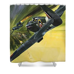 Spitfire And Doodle Bug Shower Curtain by Wilf Hardy
