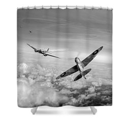 Shower Curtain featuring the photograph Spitfire Attacking Heinkel Bomber Black And White Version by Gary Eason
