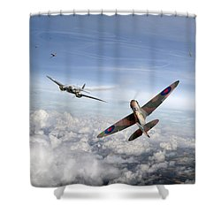 Shower Curtain featuring the photograph Spitfire Attacking Heinkel Bomber by Gary Eason