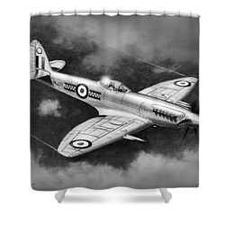 Spitfire Mark 22 Shower Curtain by Douglas Castleman