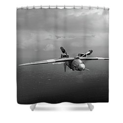 Shower Curtain featuring the photograph Spitfire Pr Xix Ps915 Inverted by Gary Eason