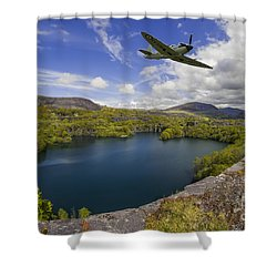 Spitfire Quarry Shower Curtain by Ian Mitchell