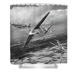 Shower Curtain featuring the photograph Spitfire Tr 9 Fighter Affiliation Bw Version by Gary Eason