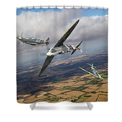 Shower Curtain featuring the photograph Spitfire Tr 9 Fighter Affiliation by Gary Eason