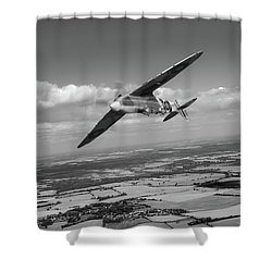 Shower Curtain featuring the photograph Spitfire Tr 9 On A Roll Bw Version by Gary Eason