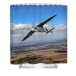 Shower Curtain featuring the photograph Spitfire Tr 9 On A Roll by Gary Eason