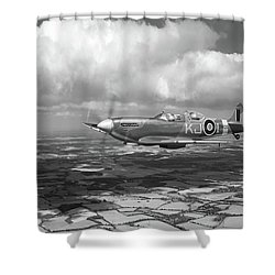 Shower Curtain featuring the photograph Spitfire Tr 9 Sm520 Bw Version by Gary Eason