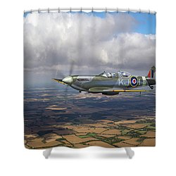 Shower Curtain featuring the photograph Spitfire Tr 9 Sm520 by Gary Eason