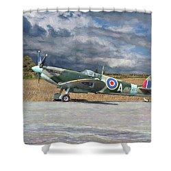 Spitfire Under Storm Clouds Shower Curtain