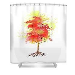 Shower Curtain featuring the painting Splash Of Autumn Watercolor Tree by Irina Sztukowski
