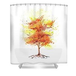 Shower Curtain featuring the painting Splash Of Fall Watercolor Tree by Irina Sztukowski