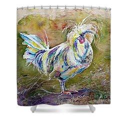 Splash White Polish Chicken Shower Curtain