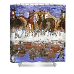 Shower Curtain featuring the painting Splashing Around by Jamie Frier