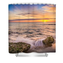 Splashing Waves. Shower Curtain