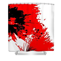 Splatter Black White And Red Series Shower Curtain