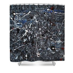Shower Curtain featuring the painting Splattered - Grey by Jacqueline Athmann